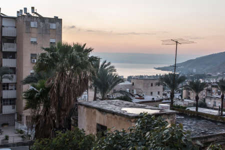 View of the city of Tiberias on the Sea of Galilee, early morning sunrise, Israel, January 26, 2020 新聞圖片