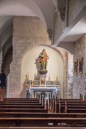 Bethlehem, Palestine. January 28, 2020: Part of Interior of the Church of St. Catherine in Bethlehem in the vicinity of the Basilica of the Nativity