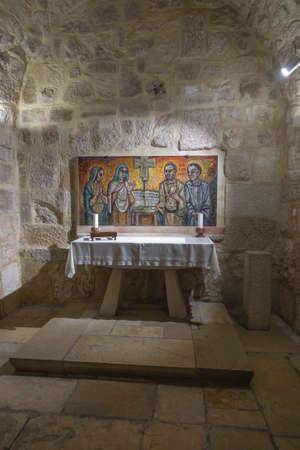 BETHLEHEM, Palestine, January 28, 2020: Caves under the Basilica of the Nativity in Bethlehem. simple stone altar