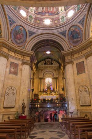 Haifa, Israel, January 26, 2020: Interior and altar at the famous Stella Maris church in Haifa, Israel