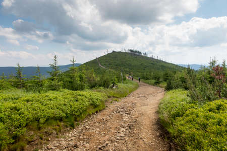 Skrzyczne, Poland, July 04, 2020: Hiking along a mountain trail in the Silesian Beskids (Poland) near the Skrzyczne peak
