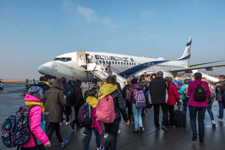 Katowice, Poland, January 25, 2020: Boarding the plane directly from the apron of Katowice Airport, Pyrzowice, Poland