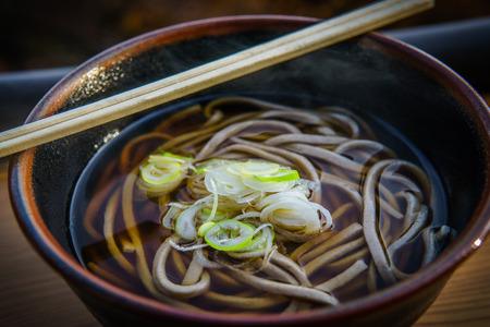 soba noodle at mountain takao Stock Photo