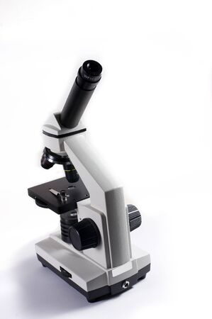 Microscope on a white background Stock Photo