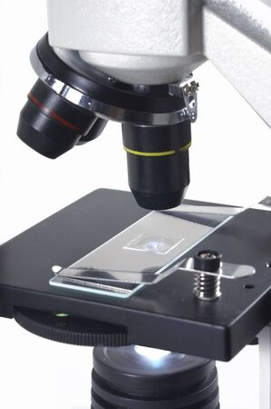 A research microscope with examination slide
