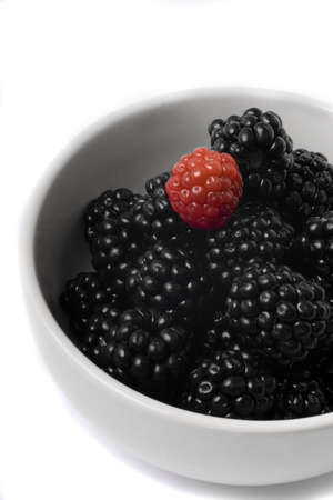 Bowl with blackberries Stock Photo