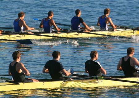 sculling:   rowers in passage