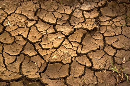Cracked mud on the riverside showing drought  Stock Photo
