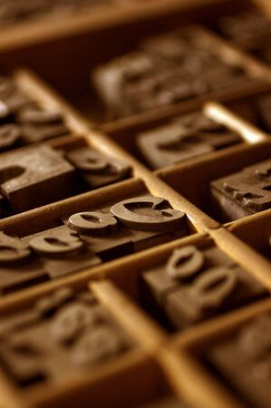 monotype: Wood Type in Drawer Stock Photo