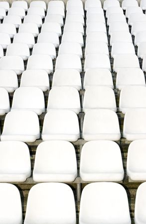 Photo of seats in a football stadium. Stock Photo