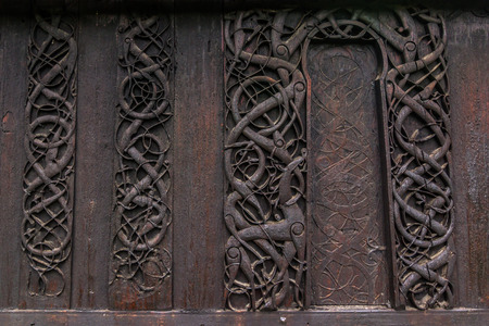 wood staves: Detail of the wall of Urnes Stave Church, Norway