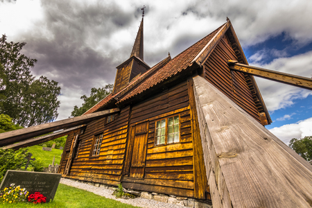 wood staves: Columns of the Stave Church of R�dven, Norway