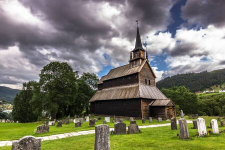 stave: Kaupanger Stave Church, Norway Stock Photo