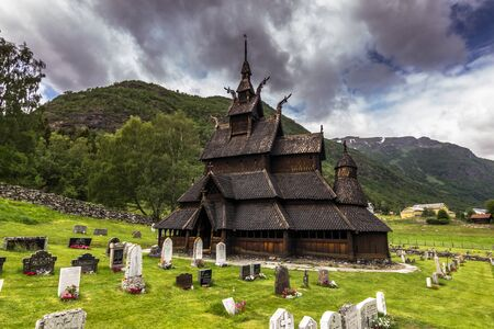 wood staves: The Side View of Borgund Stave Church, Norway Stock Photo