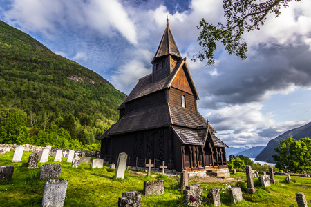 Urnes stave church, UNESCO world heritage site, Norway Reklamní fotografie - 58332337