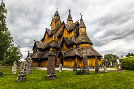 stave: Back view of Heddal Stave Church, Norway