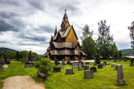 wood staves: The Heddal Stave Church, Norway Stock Photo