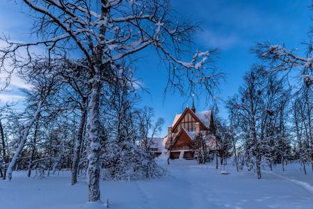 kiruna: Forest near the church of Kiruna, Sweden Stock Photo