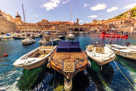 Boats in the harbor of Dubrovnik, Croatia