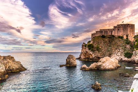 Twilight by the fortress of Dubrovnik, Croatia Editorial