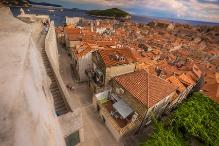 Tilf shift effect on the old town of Dubronik, Croatia