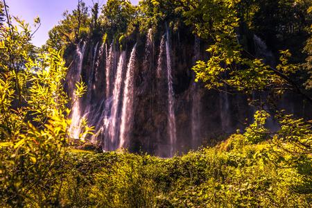Waterfall hill in Plitvice lakes, Croatia Stock Photo