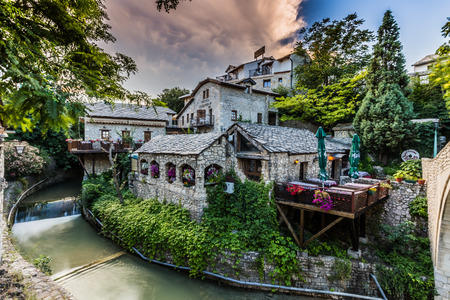 The heart of the old town of Mostar, Bosnia Editorial