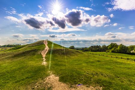 Rays of light in the graves of Vikings in Uppsala, Sweden