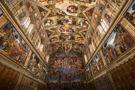 May 30, 2016: Ceiling of the Sistine chapel in the Vatican Museum, Vatican City
