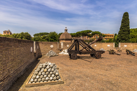 May 28, 2016: Siege weapons in the castle of SantAngelo, Rome