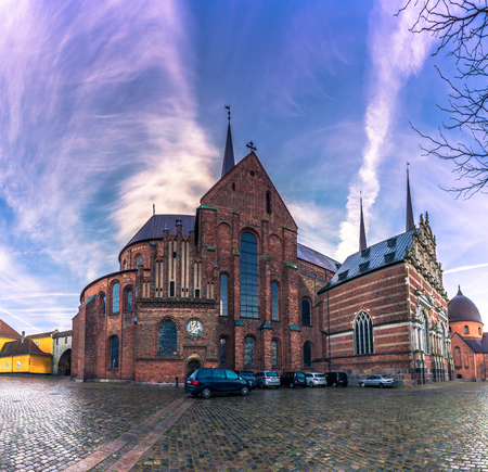 December 04, 2016: Panorama of the Cathedral of Saint Luke in Roskilde, Denmark
