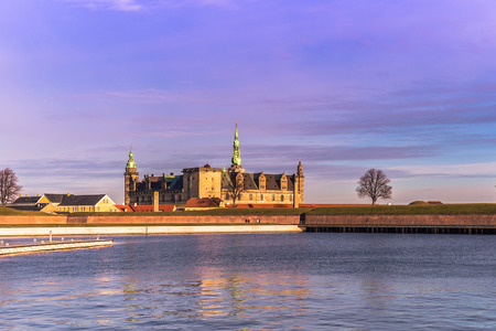 December 03, 2016: Kronborg castle in the distance in Helsingor, Denmark Editorial