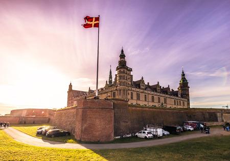 December 03, 2016:  The castle of Kronborg with sun rays, Denmark