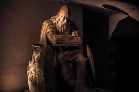 December 03, 2016: Golden Statue of Holger Danske inside Kronborg castle, Denmark