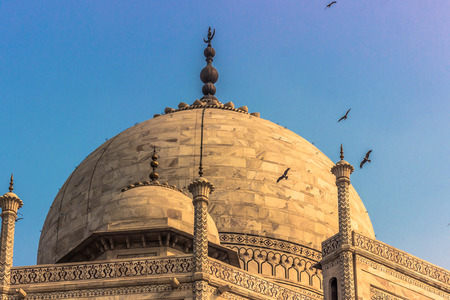 a wonderful world: Detail of the roof of the Taj Mahal in Agra, India Stock Photo