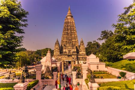 bodhgaya: October 30, 2014: Entrance to the Mahabodhi Buddhist temple in Bodhgaya, India Editorial