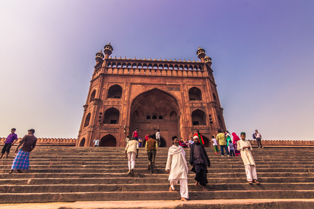 October 28, 2014: Entrance to the Jama Masjid Mosque in New Delhi, India