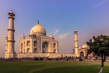 mughal empire: November 02, 2014: Gardens of the Taj Mahal in Agra, India