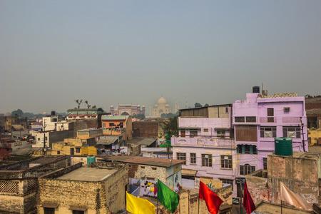 islamic wonderful: November 02, 2014: The Taj Mahal in the distance in Agra, India