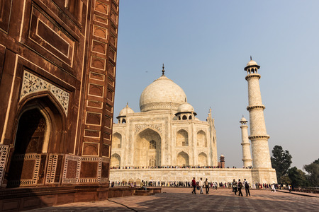 mughal empire: November 02, 2014: Wall of a mosque near the Taj Mahal in Agra, India Editorial
