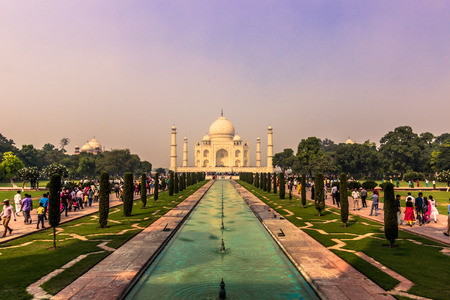 mughal empire: NovemberNovember 02, 2014: Panorama of the gardens of the Taj Mahal in Agra, India 02, 2014: Agra, India