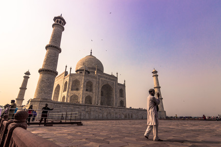 mughal empire: November 02, 2014: A Muslim pilgrim at the Taj Mahal in Agra, India