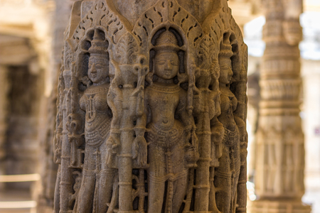 jainism: November 08, 2014: Detailed carvings of the walls inside the Jain temple of Ranakpur, India