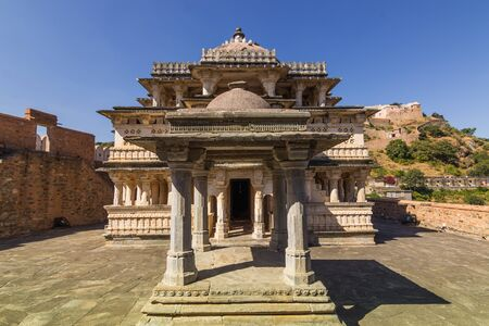 spiritual architecture: November 08, 2014: Entrance to a hindu temple in Kumbhalgarh Fort, India Editorial
