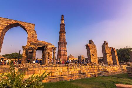 October 27, 2014: Ruins of the Qutb Minar in New Delhi, India Editorial