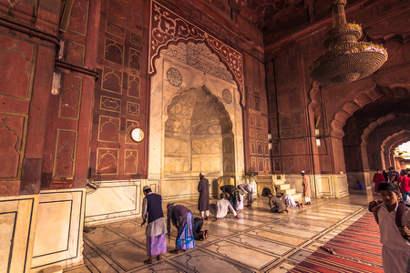 jama masjid: October 28, 2014: Muslims praying in the Jama Masjid Mosque in New Delhi, India Editorial