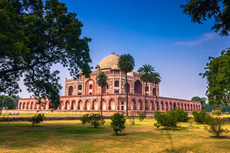 worl: October 29, 2014: Gardens of the Humayuns Tomb in New Delhi, India Editorial