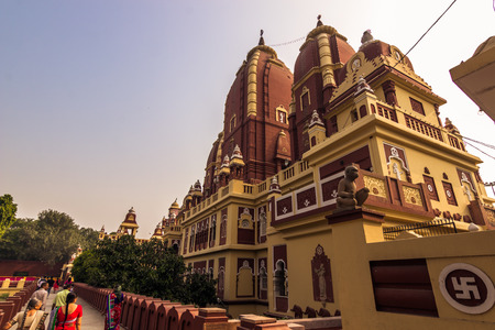 dome of hindu temple: October 27, 2014: Side view of the Laxminarayan temple in New Delhi, India