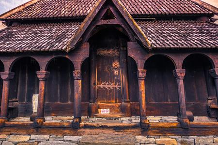 July 23, 2015: Door to enter Urnes Stave Church, UNESCO site, in Ornes, Norway