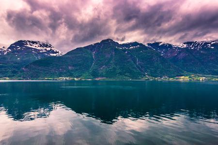 hardanger: July 21, 2015: Panorama of the Hardanger fjord, Norway